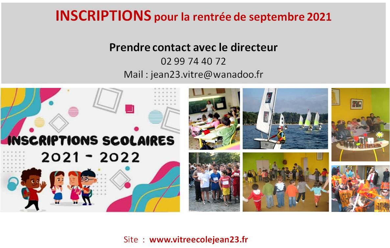 Inscription Rentrée 2021-2022